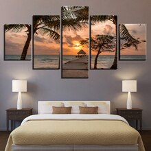 Impressão em tela de madeira modular ponte pintura cartaz parede 5 painel pôr do sol imagem para decoração casa mar crianças quarto quadro