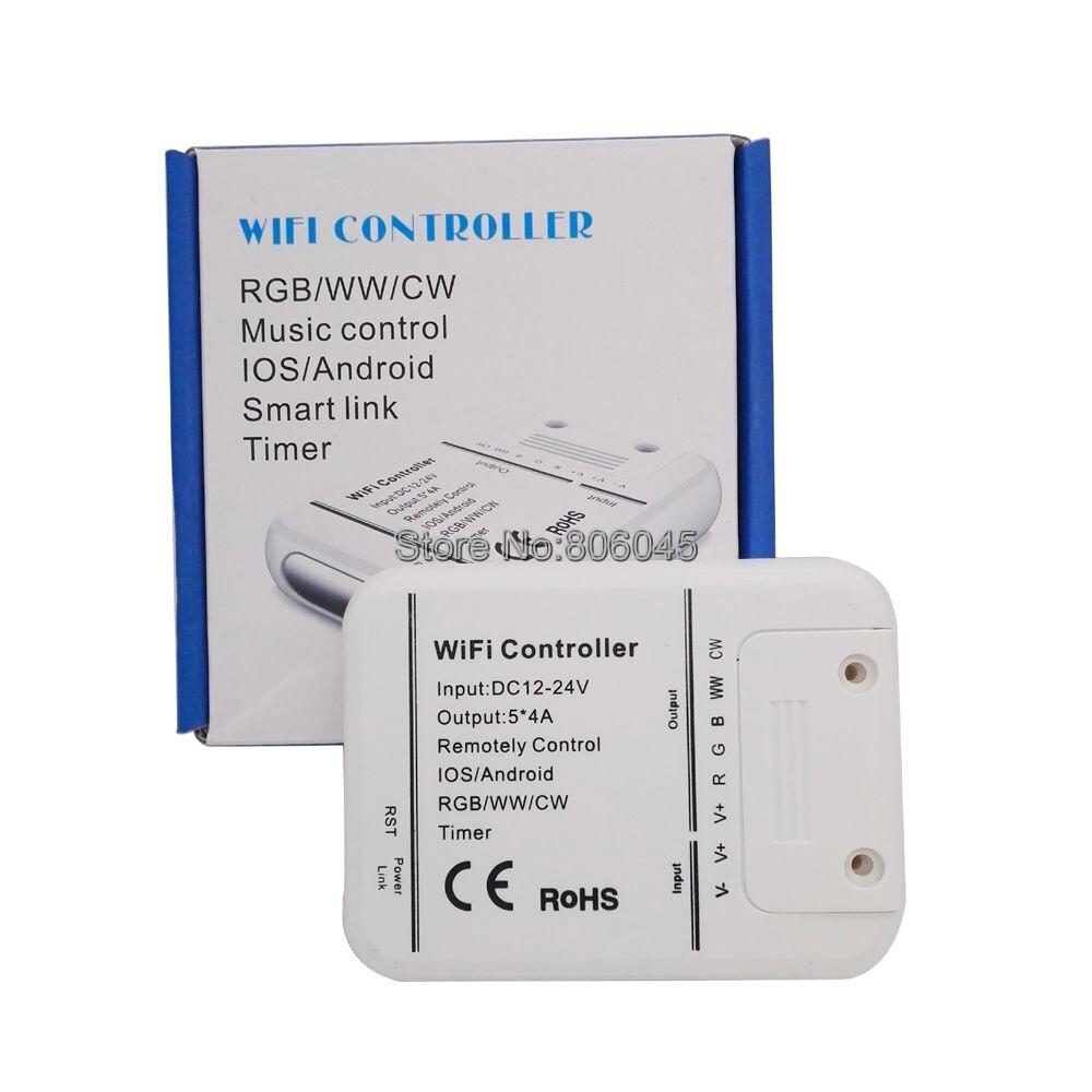 Светодиодный контроллер RGB/RGBW/RGBWW 12 В, 24 В, 20 А, Wi-Fi, 16 миллионов цветов, Режим музыки и таймера, управление через приложение, на iOS/Android