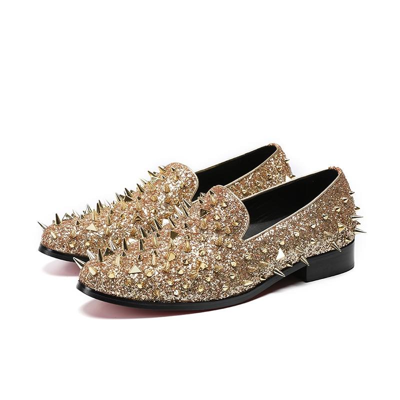 حذاء موكاسين فاخر للرجال ، حذاء زفاف مطرز بالترتر ، ذهبي ، بنجوم فائقة