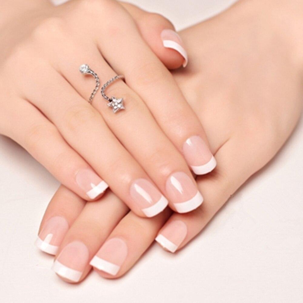 24 sztuk naturalne krótkie fałszywe paznokcie z wzorami akrylowe okrągłe krótkie paznokcie typu french Art porady z 2g kleju sztuczne paznokcie sztuki dekoracji