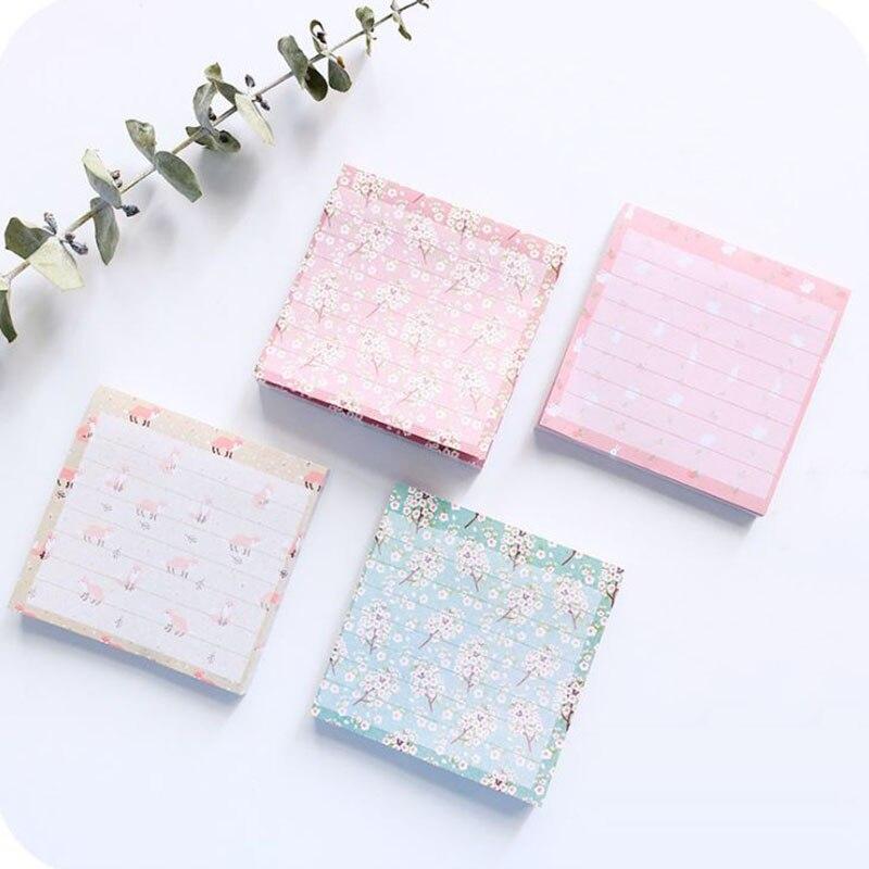 1 unidad de bloc de notas de zorro conejo lindo post Bloc de notas adhesivas de flores auto Bloc adhesivo suministros de papelería de oficina escolar