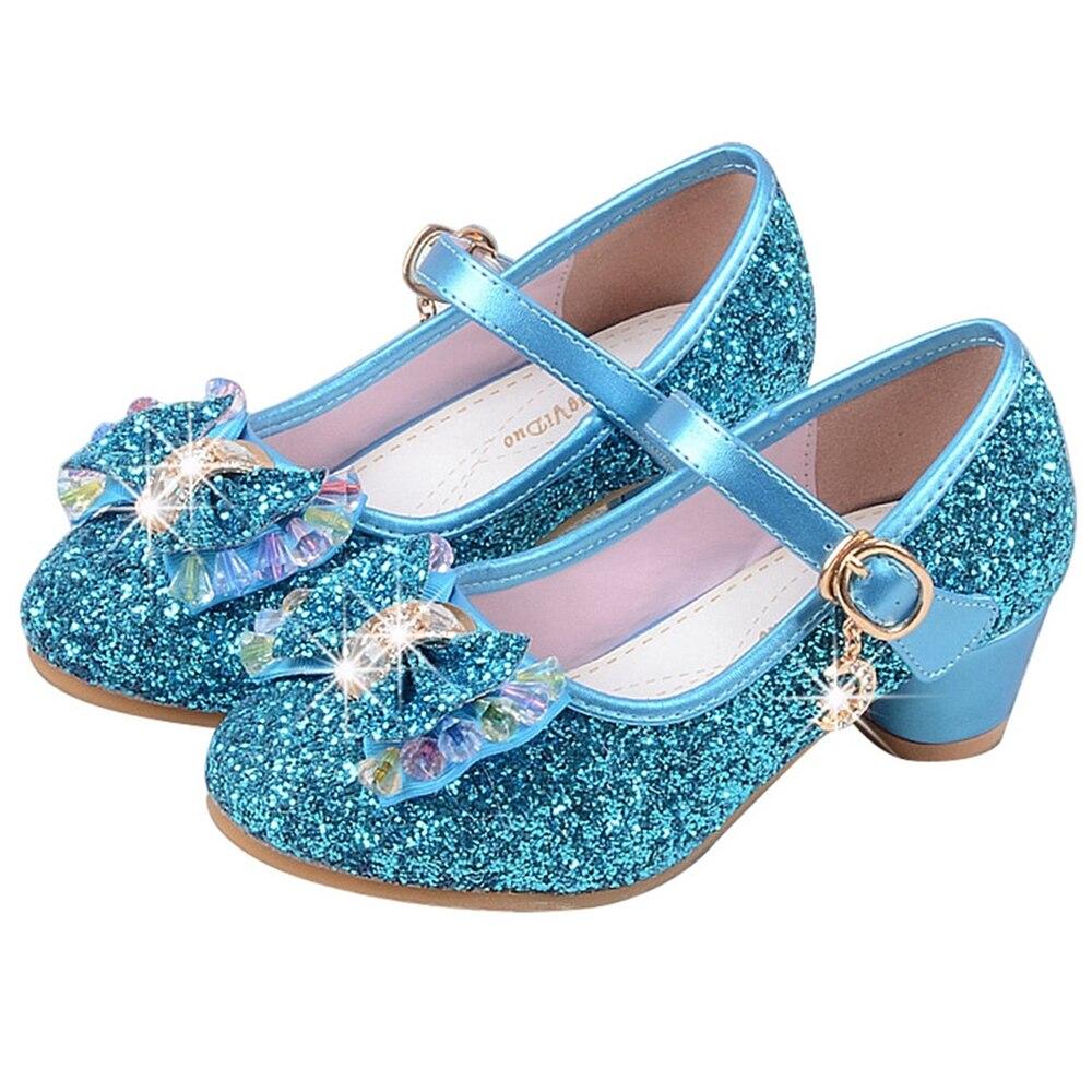 Zapatos de vestir de moda para niñas, sandalias de tacones medios de princesa con lentejuelas brillantes, sandalias de verano para niños pequeños, actuación de fiesta D25