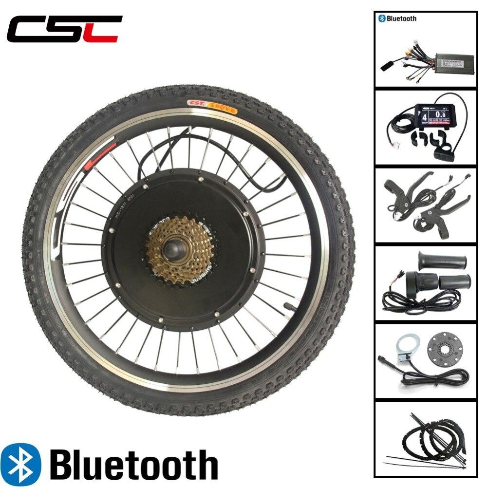 E Kit de conversión de bicicleta, con Bluetooth, Motor de bicicleta eléctrica de 48V, 500W, 1000W y 1500W, rueda para bicicleta eléctrica de 20-29 pulgadas, 700C