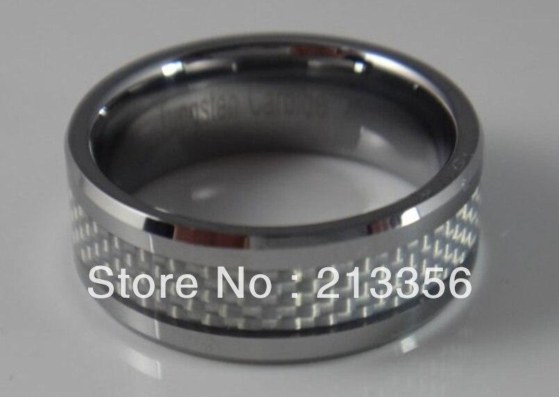 ¡Envío Gratis! ¡Ofertas de precio barato! EUA Venta caliente para hombres anillo de boda de carburo de tungsteno con anillo de fibra de carbono blanco
