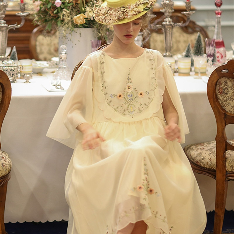 الربيع الصيف الأصلي تصميم المرأة خمر طبعة محدودة العتيقة اليدوية رائعة التطريز الفرنسية الرجعية موري الفتيات فساتين
