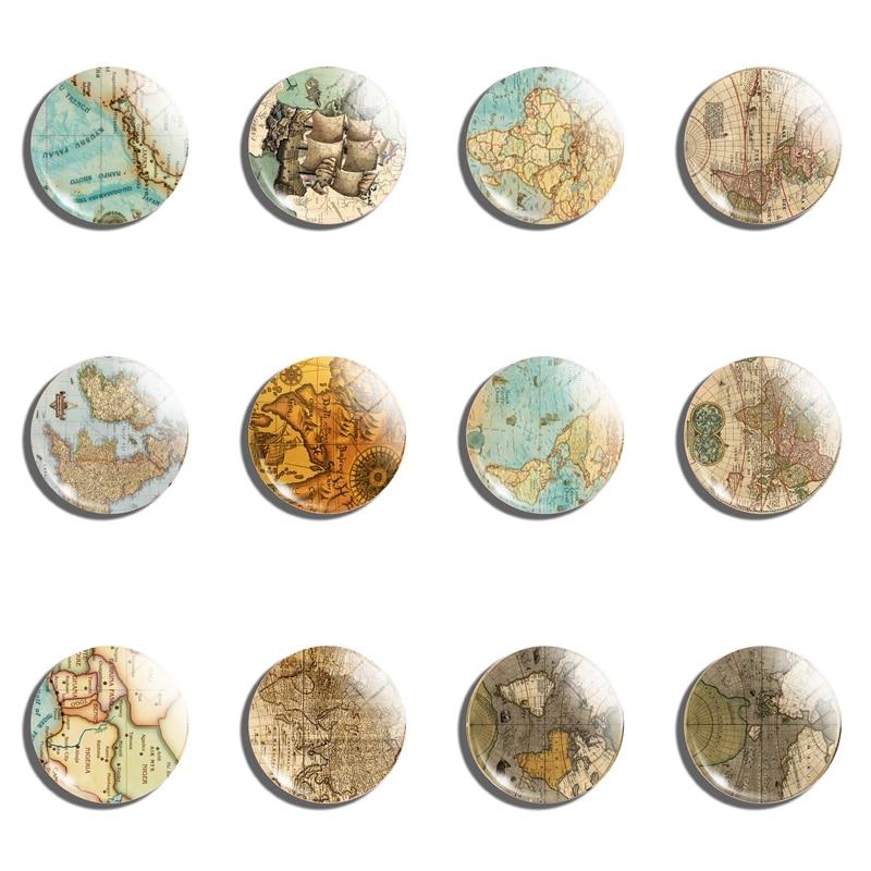 World Map Fridge Magnet Crystal Glass Cabochon Travel Souvenir Refrigerator Stickers Magnetic Decoration 25mm 12PCS Wholesale