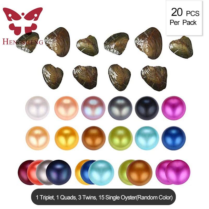 HENGSHENG 20 шт смешанных цветов одиночные Близнецы триплет Quads 6,5-7 мм пресноводные почти круглые жемчужные устрицы (многоцветный)