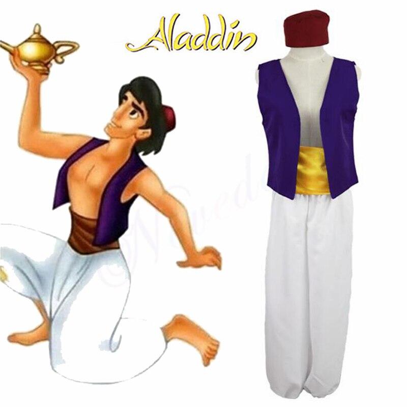 Los hombres adultos Aladdin traje Cosplay de Anime para Halloween vestido Aladdin lámpara príncipe Adam trajes con pantalones de chaleco