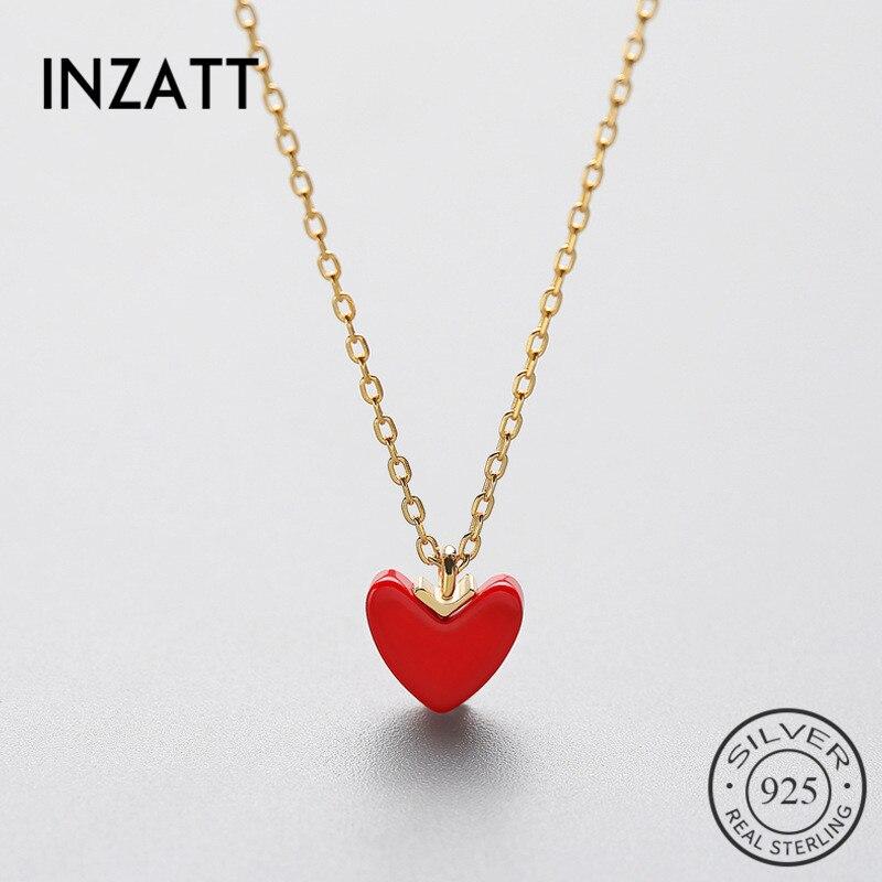 INZATT Trendy 925 Sterling Silber Rot Herz Anhänger Halskette Türkischen Stein Gold Farbe Mode Schmuck Valentinstag 2018 Geschenk