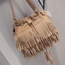 Женская сумка-мессенджер, из искусственной замши с кисточками в ретро стиле