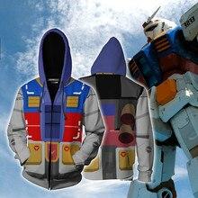 Impression 3D Costume MOBILE GUNDAM Anime héros Cosplay sweat à capuche hommes haut pull sweat à capuche avec fermeture éclair Gundam Cosplay Costume