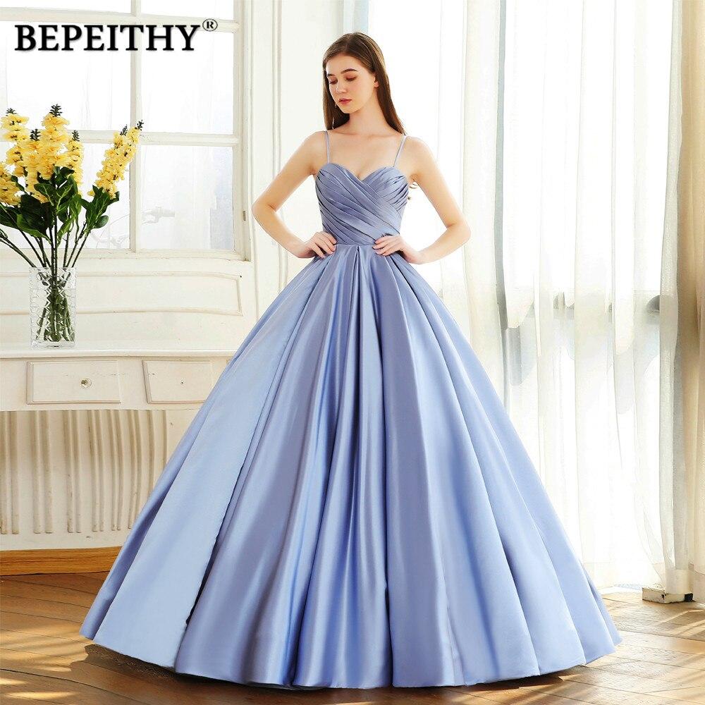 BEPEITHY Sweetheart Ball Gown Long Prom Dress Vintage Vestido De Festa Pleats Top Party Evening Gown 2020