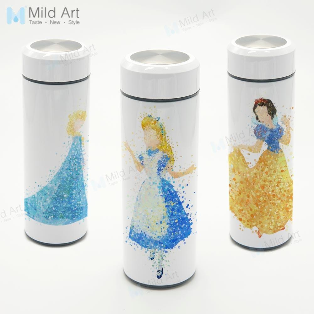 Personalized Watercolor Fairy Princess Pop Movie Travel Mug Stainless Steel Thermal Vacuum Cup Water Bottle 350ml Kids Girl Gift