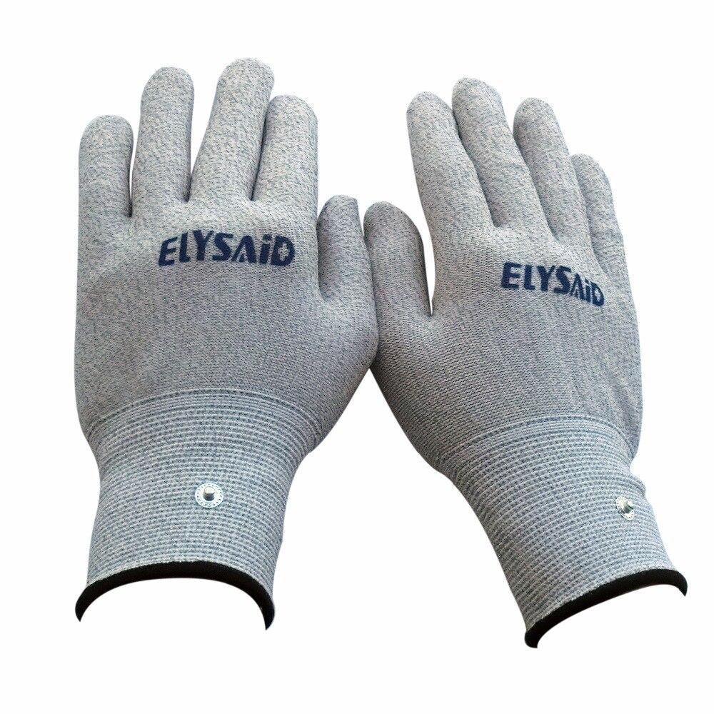 1 par de guantes masajeador de electrodos de mano Elysaid, masajeador conductor, guantes de terapia, TENS de fibra plateada, electroterapia de fisioterapia