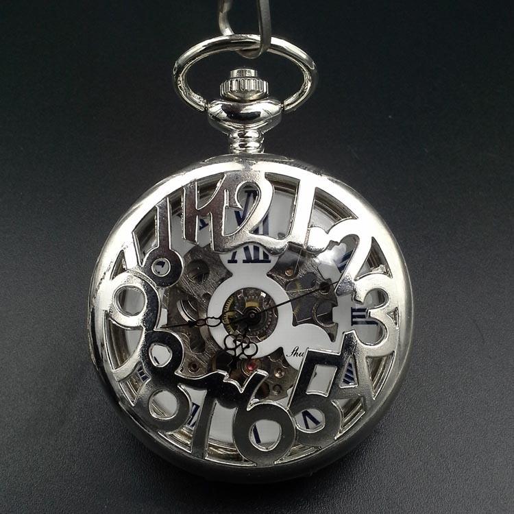 Reloj plateado con números arábicos, collar para hombre, joyería para hombre, reloj Reloj de bolsillo mecánico Hombre, cadena militar H271
