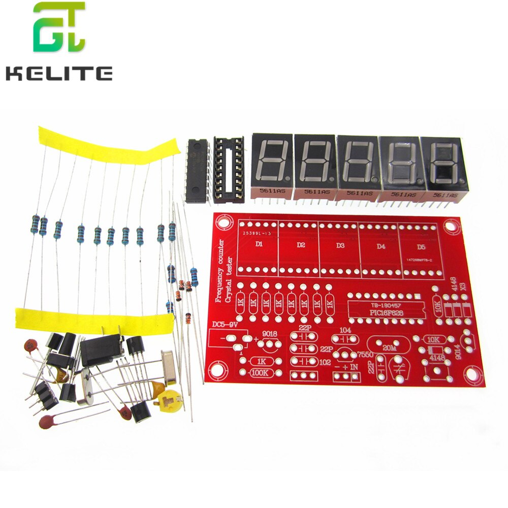 1 lote diy kits rf 1 hz-50 mhz cristal oscilador contador de freqüência medidor digital led testador