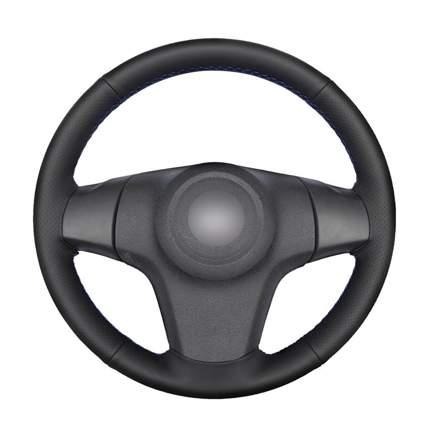 Рука сшитый черный искусственная кожа PU чехол рулевого колеса автомобиля для Chevrolet Niva 2009-2017 (3-спица) Opel Corsa (D)