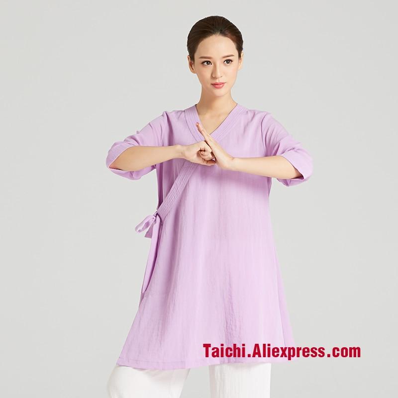 Traje de Tai chi Taiji de artes marciales para mujer, bata taoísta china, ropa de lino con cuello oblicuo, ropa de artes marciales, falda de Tai Chi