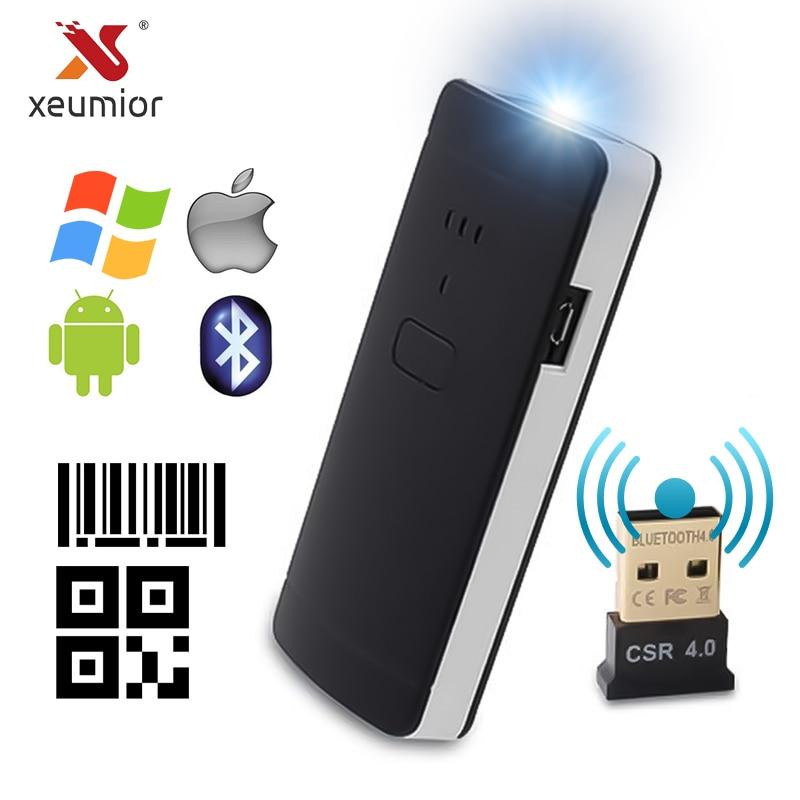 Xeuminior escáner portátil de bolsillo inalámbrico 2D lector de código QR Bluetooth 2D escáner de código de barras para Android IOS Barcod Handheld