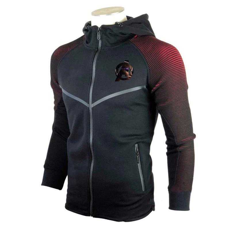 Sudadera negra Panther manga larga cremallera bolsillo de empalme transpirable impresión deportes al aire libre Fitness medias Casual hombres Top