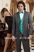 Erkek takım elbise düğün damat giyim elbise custom made ucuz takım elbise kömür gri smokin ücretsiz kargo