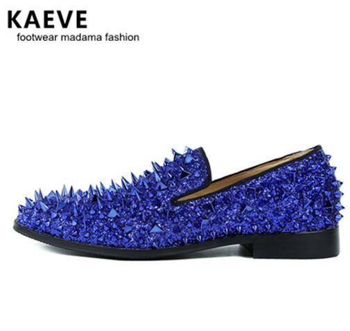 Kave عالية الجودة الانزلاق على المتسكعون EU39-EU46 الرجال بريق مسنبل أحذية الملكي الأزرق الهندباء الشقق أحذية الزفاف للرجال