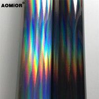 Black Silver Iridescent Gold Holographic Kaleidoscope Vinyl Film Chrome Laser Vinyl Roll Bubble Free Car Phone Laptop PAD