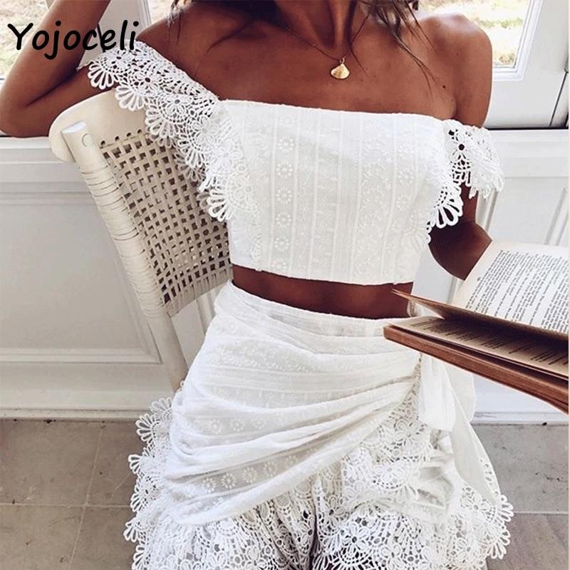 Yojoceli 2019 verano crochet de encaje, blusas camisa hombro Fiesta club blusas de mujer blusas tops camiseta