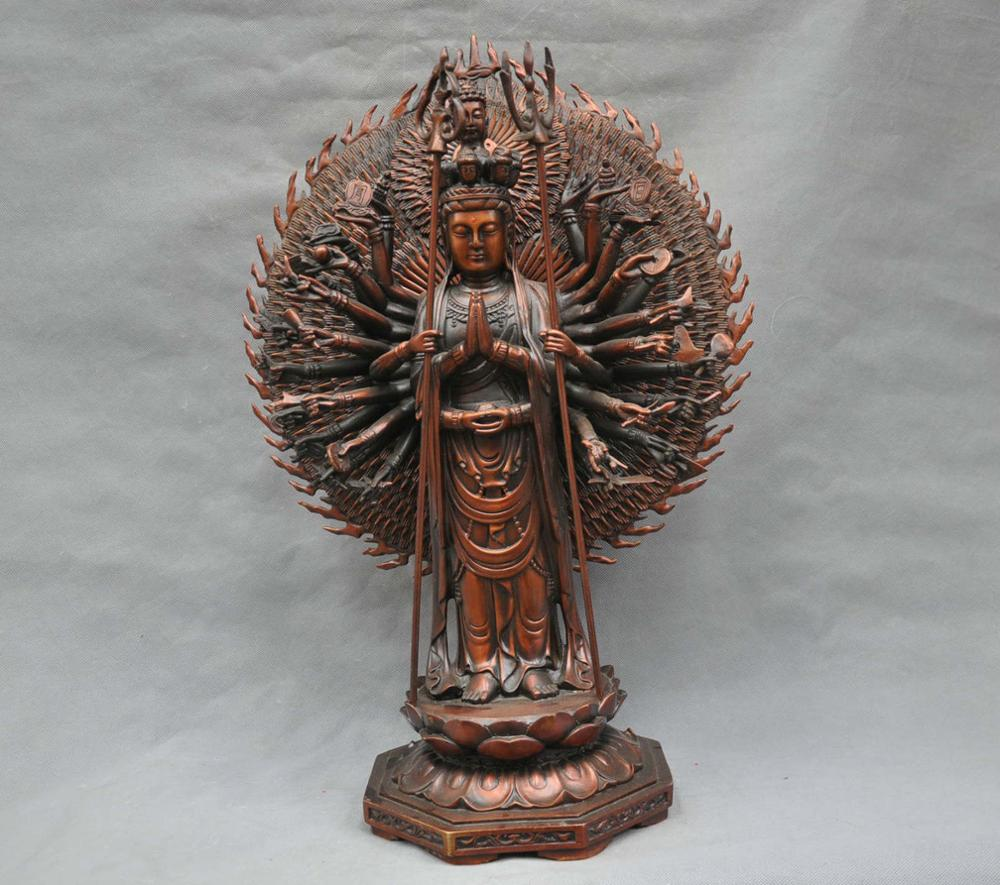 22China Tibetan Thousand Hands Guanyin Kwan-yin Bodhisattva Bronze Statue