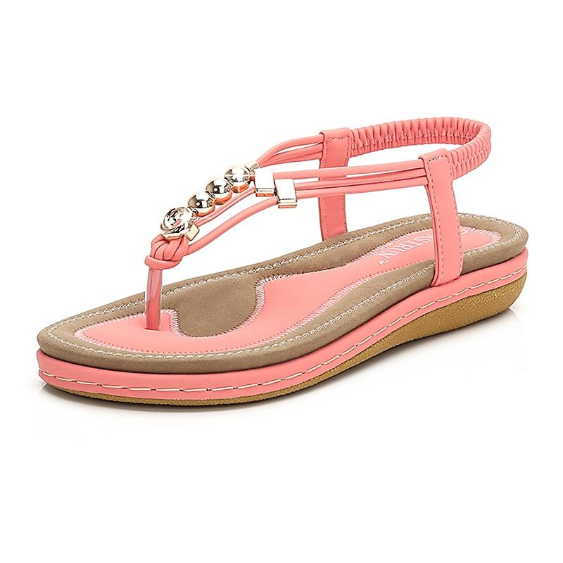 Sandalias de mujer, chanclas de moda de verano, zapatos planos para mujer, zapatos bohemios informales para mujer, zapatos lisos de talla grande 35-44