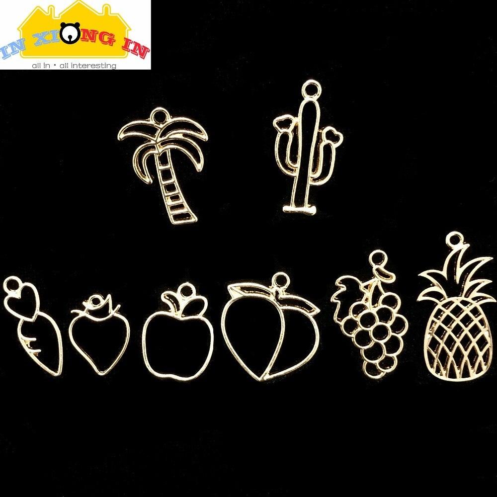 Fruit Peach uva engaste Cactus abalorios de resina joyería DIY accesorios para manualidades cocotero piña marco herramienta de decoración de resina
