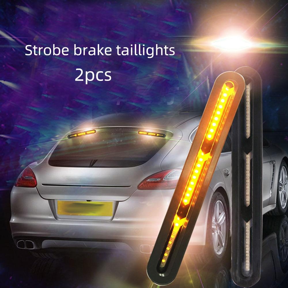 2 uds. Luces LED traseras de 60 ledes para coche, luces de señal de flujo de agua óseas de pez, luz trasera de freno estroboscópica de conducción DC 12V