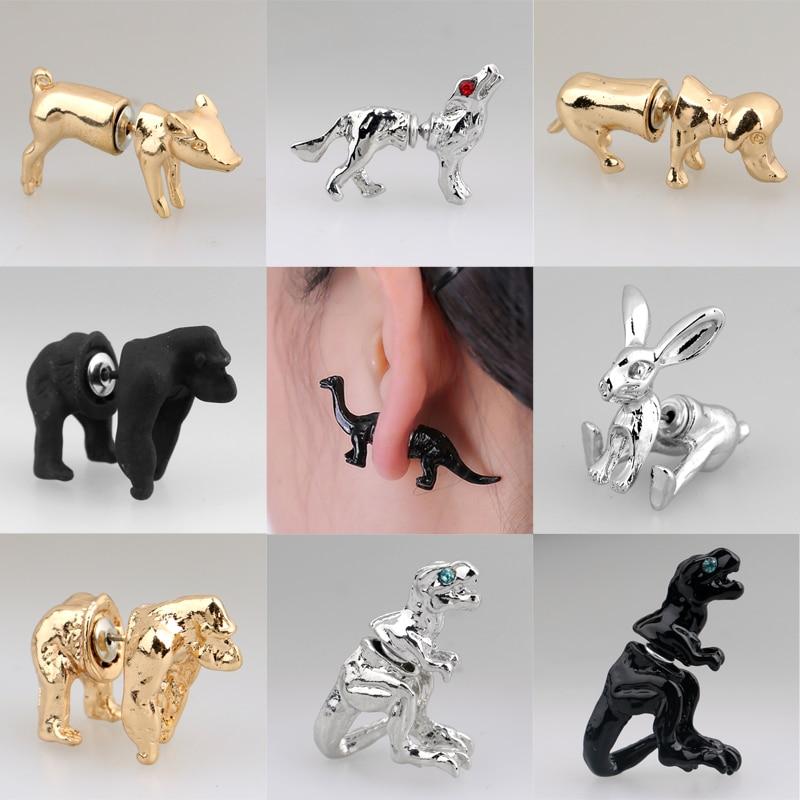 1Pair Fashion 18 Styles Gold Silver Black 3D Lovely Dog Dinosaur Pig Gorilla Rabbit Wolf Animals Stud Earring Women Girl Jewelry