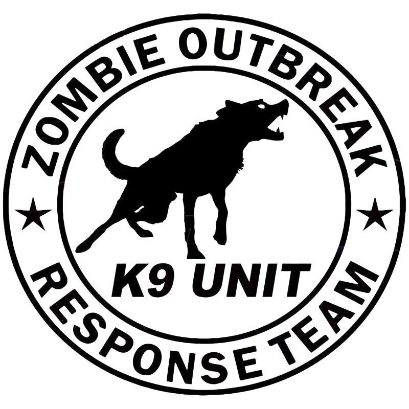 19CM * 17.8CM Zombie épidémie équipe de réponse K9 unité chien canin Zombies autocollant autocollant voiture autocollant accessoires noir argent C8-1264