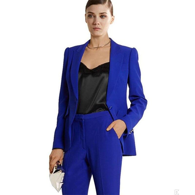 Trajes de pantalón de verano azul real para mujer, trajes formales elegantes para mujer, trajes de 2 piezas para mujer, trajes personalizados