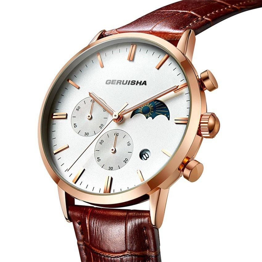Relojes Geruisha para hombre, relojes de pulsera de lujo de la mejor marca para hombre, reloj de moda de negocios, relojes de cuarzo resistentes al agua, reloj cronógrafo Masculino