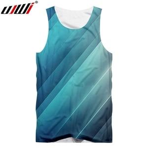 UJWI New Casual Sleeveless Striped Men's Tank Top 3D Print Harajuku Loose Wholesale Large Size Tee Shirt