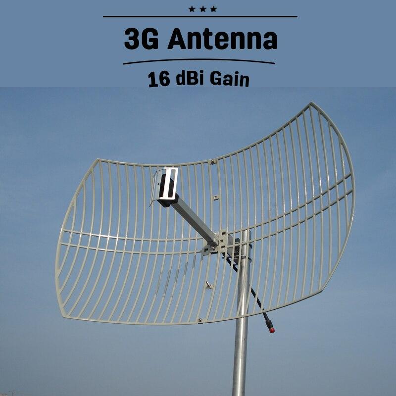 3G UMTS 2100 al aire libre celular antena cuadrícula de 16dBi de alta ganancia 2100MHz antena externa para señal de teléfono móvil de refuerzo de Repeater antena para amplificador telefono antena exterior alta ganancia