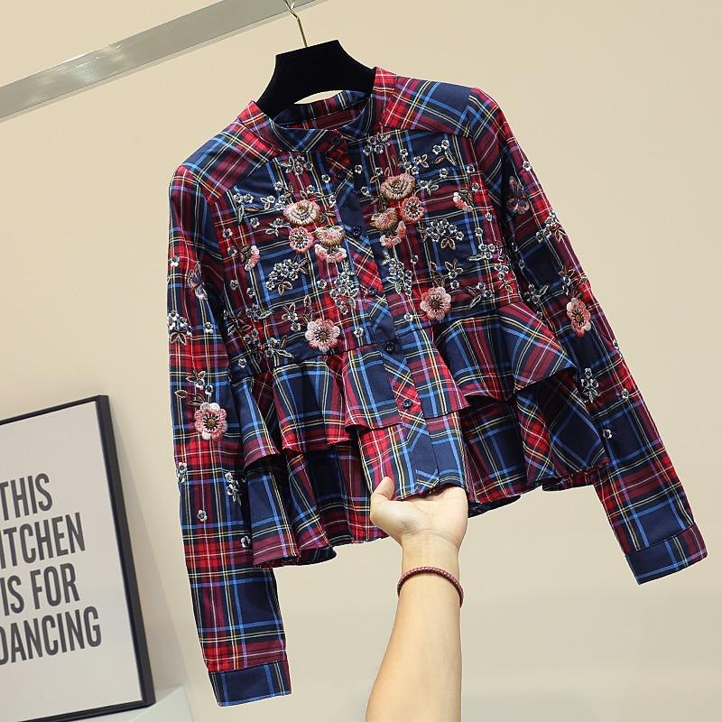 MUMUZI Plaid shirt female loose 2019 spring new Korean beading tops girls retro embroidered fashion's ruffles blouses shirts