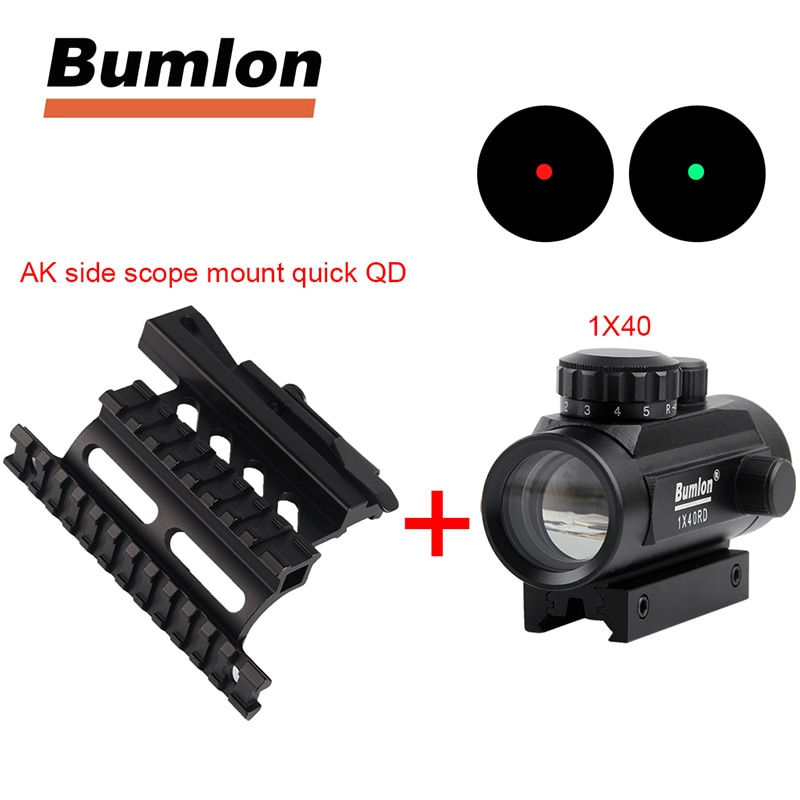 Táctico holográfico 1x40mm rojo verde Dot mira óptica + AK Serie montaje lateral del riel rápido QD estilo 20mm separar Weaver carril