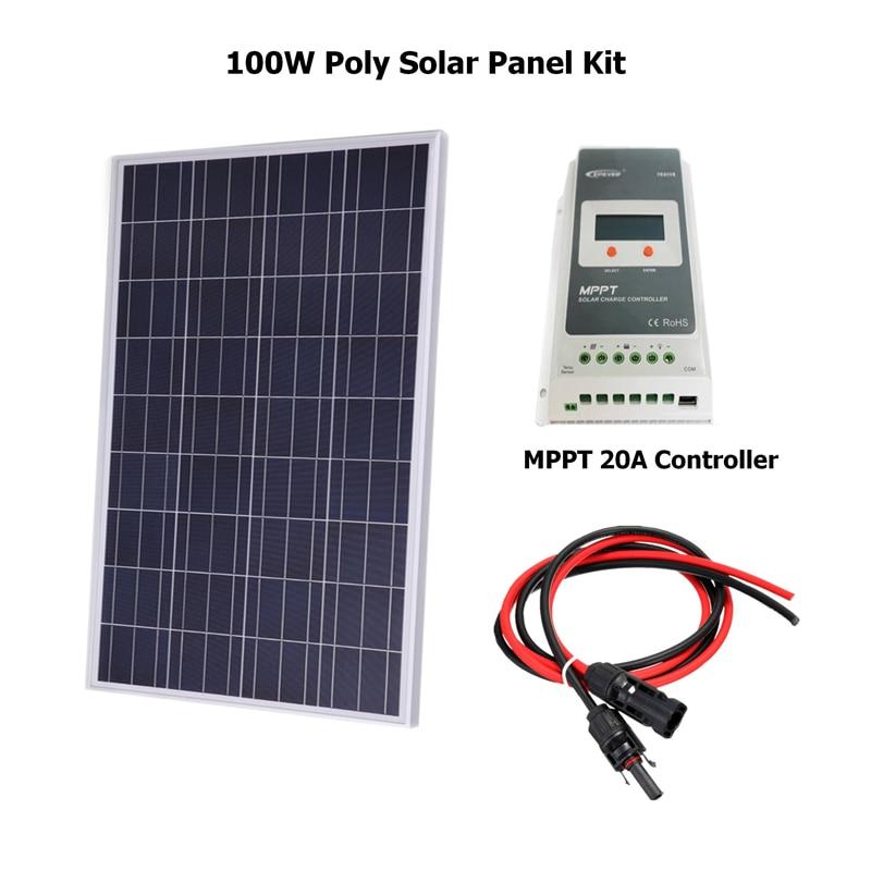 100 Вт 18В поликристаллическая солнечная панель комплект для 12В батареи решетки системы солнечной для домашней системы W/20A MPPT Солнечный контр...