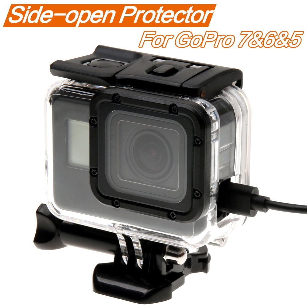 Skeleton Protective case Housing Side-opening Backdoor with hole Black Out with lens glass for GoPro Hero 7 6 5  Accessories