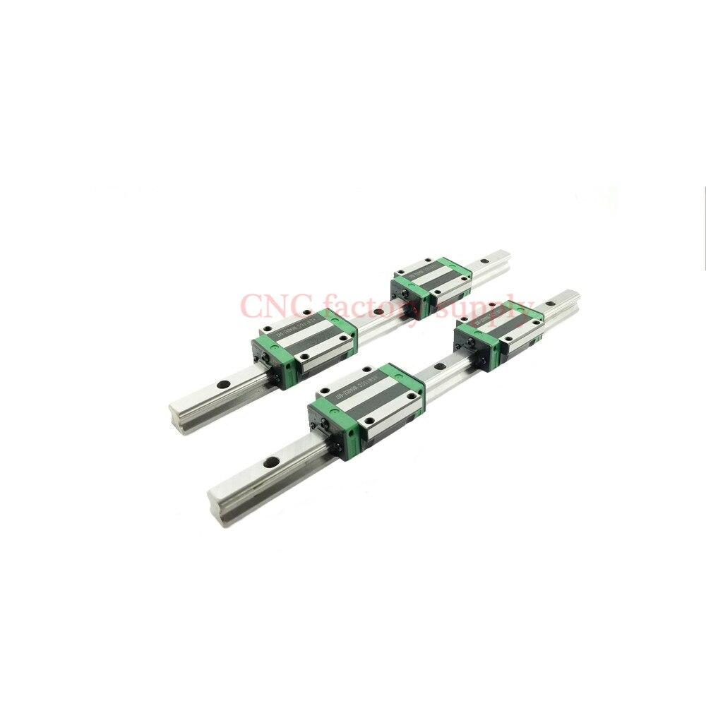 2 قطع خطي السكك الحديدية HGR20 L1500mm cnc أجزاء و 4 قطع HGW20CA دليل خطي القضبان كتلة cnc أجزاء