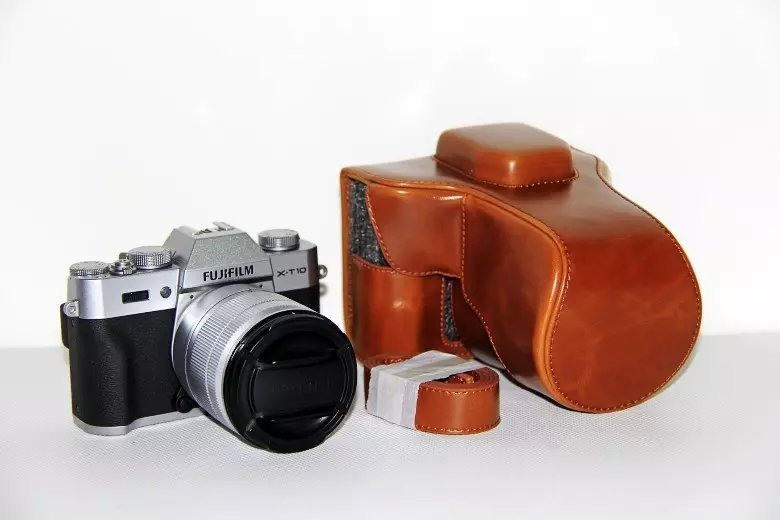 1 Uds funda de piel sintética para cámara Fujifilm Fuji X-T10 XT10 18-55mm 16-50mmII bolsa negra marrón café