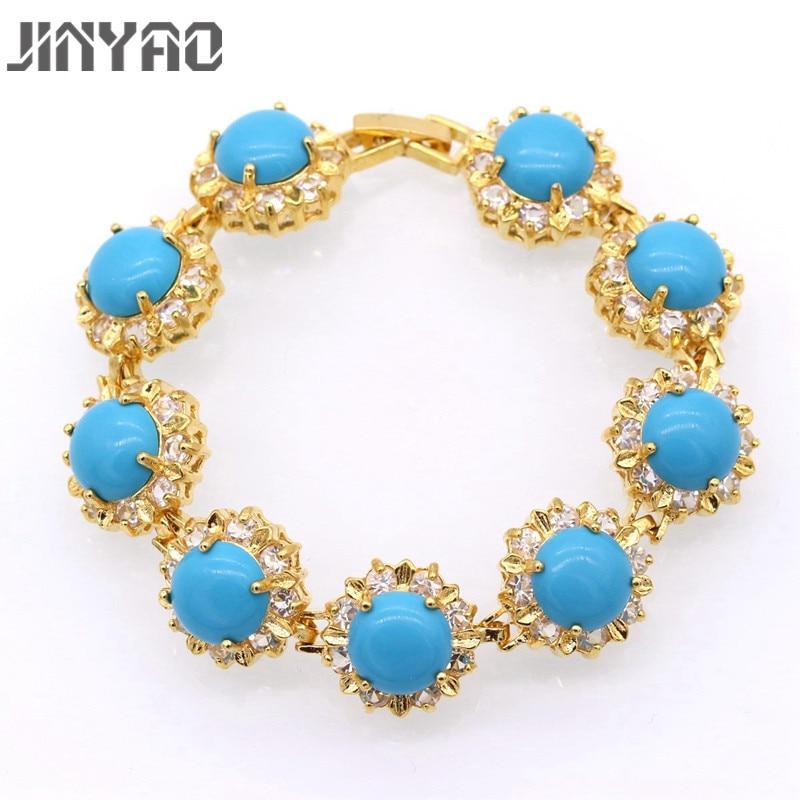 Jinyao moda feminina redonda azul pedra zircão charme pulseiras pulseiras puro ouro cor festa jóias presente para mulher