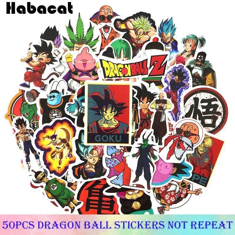 50 unids/paquete de pegatinas de pelota de dragón de Anime japonés para monopatín, portátil, decoración de la Casa de la motocicleta, pegatinas de Super Saiyan Goku