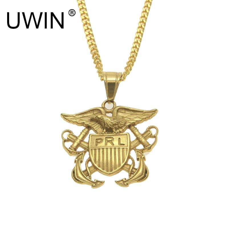 UWIN Men Women Stainless Steel 24k Gold Color The Legend Of Zelda Triforce Vintage Shield Anchors Pendant Necklace Punk Jewelry