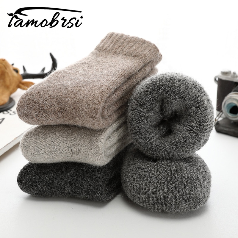 AliExpress - Super Thicker Solid Socks Merino Wool Rabbit Socks Against Cold Snow Russia Winter Warm Funny Happy Male Men Socks
