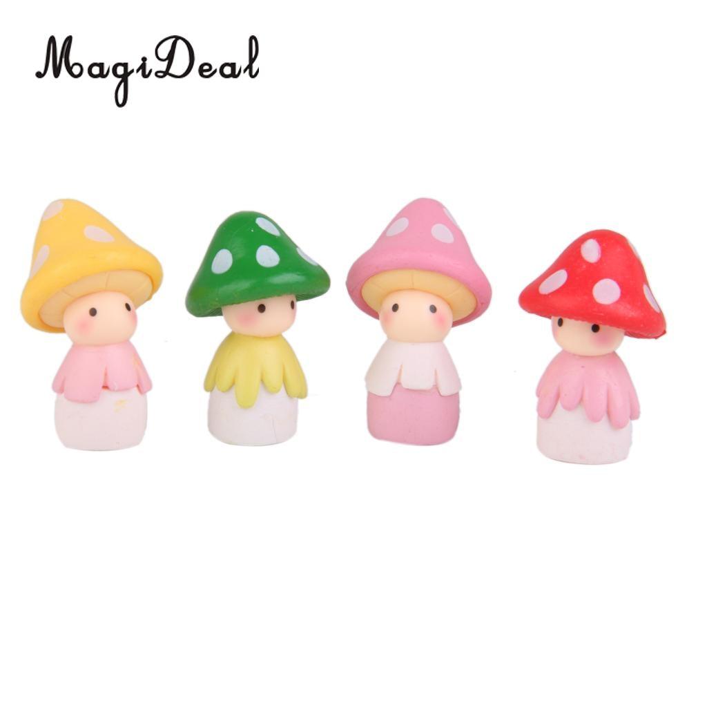 MagiDeal 4 Uds muñeco de seta niñas miniatura Jardín de hadas Micro artesanía con paisaje DIY terrario ornamento accesorios de decoración del hogar