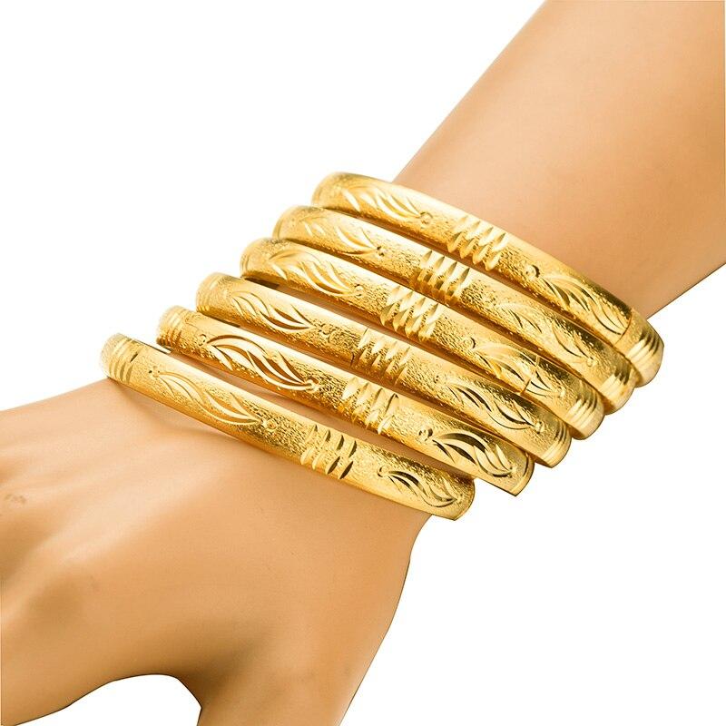 Dubai Jóias de Ouro Pulseiras Cor De Ouro 6 pçs/lote Etíope Bangles Jóias para As Mulheres Africano Pulseiras & Pulseiras para Mulheres Presentes